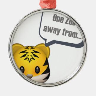 Ornement Rond Argenté un zoo à partir - d'Emoji