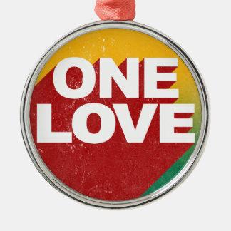 Ornement Rond Argenté Une affiche d'amour