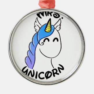 Ornement Rond Argenté Unicorn