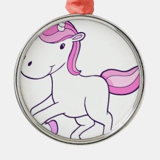 Ornement Rond Argenté unicorn11