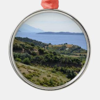 Ornement Rond Argenté Vacances de vacances de nature de la Grèce