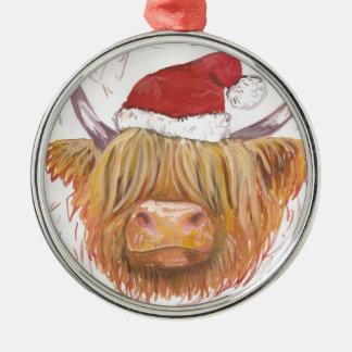 Ornement Rond Argenté vache des montagnes à roucoulement de Noël avec le