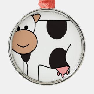 Ornement Rond Argenté Vache heureuse