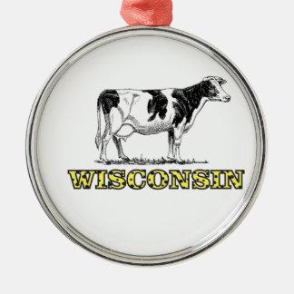Ornement Rond Argenté Vache laitière du Wisconsin