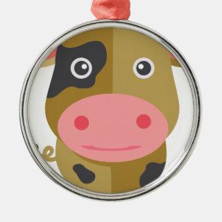 Ornement Rond Argenté Vache mignonne à bande dessinée
