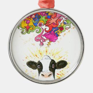 Ornement Rond Argenté Vache psychédélique
