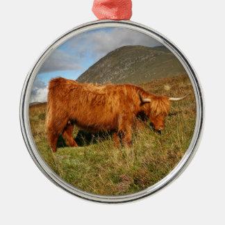 Ornement Rond Argenté Vaches des montagnes écossaises - Ecosse