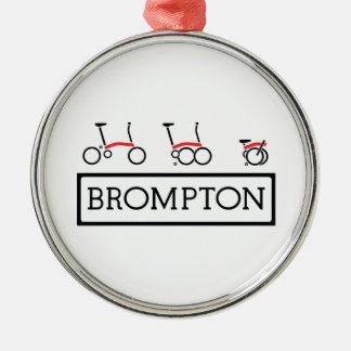 Ornement Rond Argenté Vélo se pliant de Brompton