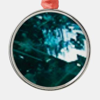 Ornement Rond Argenté verre vert brisé