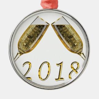 Ornement Rond Argenté Verres 2018 de Champagne