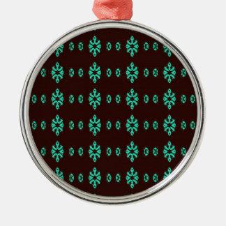 Ornement Rond Argenté Vert au néon moderne sur le motif noir