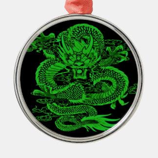 Ornement Rond Argenté Vert épique de dragon