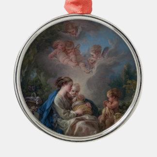 Ornement Rond Argenté Vierge et enfant avec le St John le baptiste