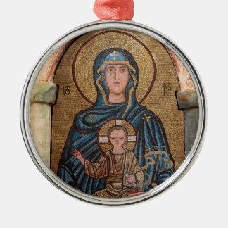Ornement Rond Argenté Vierge Marie et mosaïque de Jésus