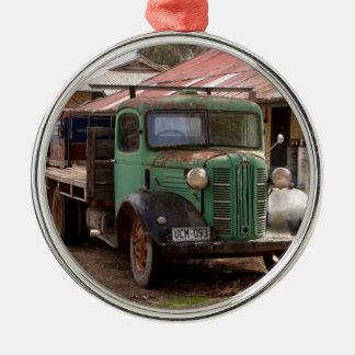 Ornement Rond Argenté Vieux camion vert