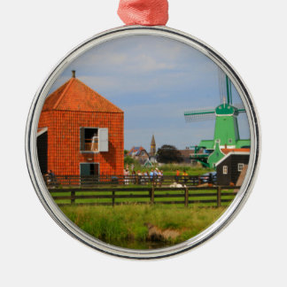 Ornement Rond Argenté Village néerlandais de moulin à vent, Hollande 4