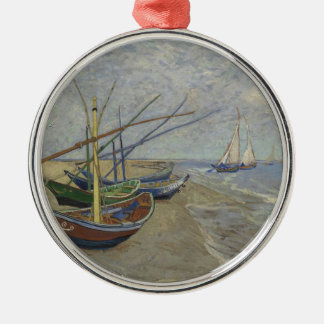 Ornement Rond Argenté Vincent van Gogh - bateaux de pêche sur Saintes