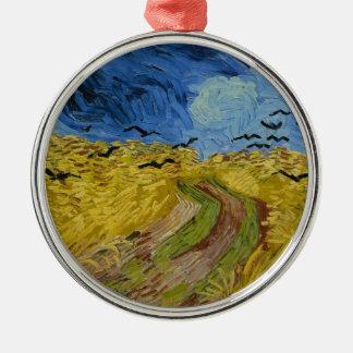 Ornement Rond Argenté Vincent van Gogh - champ de blé avec la peinture