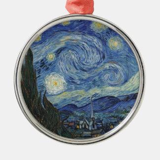 Ornement Rond Argenté Vincent van Gogh | la nuit étoilée, juin 1889