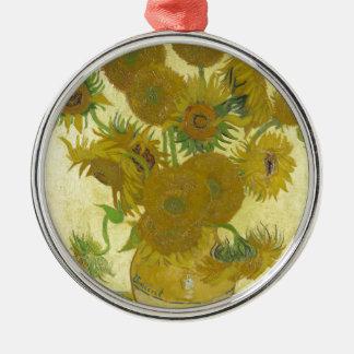 Ornement Rond Argenté Vincent van Gogh - tournesols - peinture classique