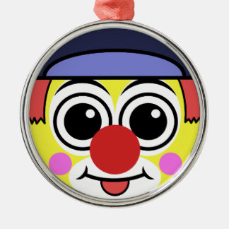 Ornement Rond Argenté Visage de clown