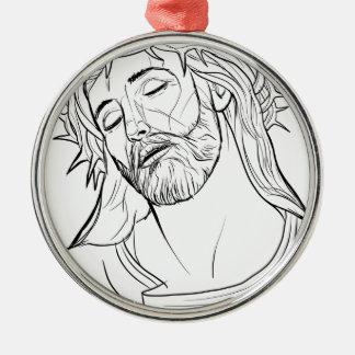 Ornement Rond Argenté Visage de la couronne de Jésus des épines
