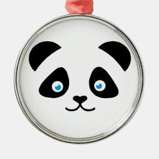 Ornement Rond Argenté visage d'ours panda