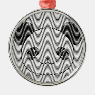 Ornement Rond Argenté Visage d'ours panda sur le motif de vague