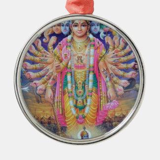 Ornement Rond Argenté Vishnu