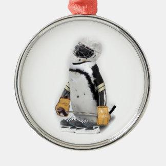 Ornement Rond Argenté Vitesse de port d'hockey de petit pingouin