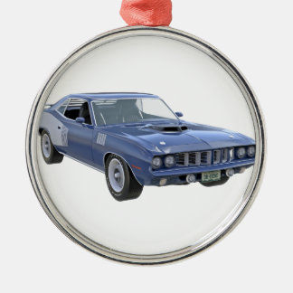 Ornement Rond Argenté Voiture de muscle de 1971 bleus