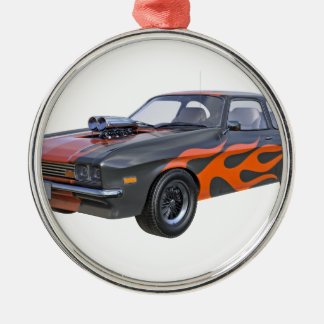 Ornement Rond Argenté voiture de muscle des années 70 dans les flammes