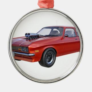 Ornement Rond Argenté voiture de muscle des années 70 en rouge