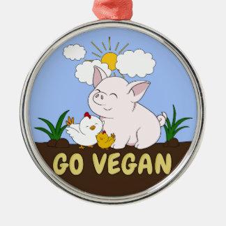Ornement Rond Argenté Vont le végétalien - porc et poulet mignons