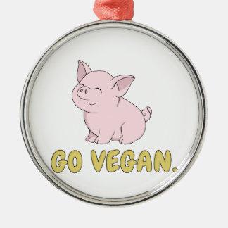 Ornement Rond Argenté Vont le végétalien - porc mignon