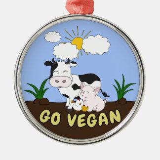 Ornement Rond Argenté Vont le végétalien - vache mignonne