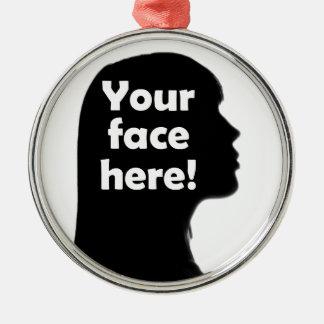 Ornement Rond Argenté votre-visage-ici-copie