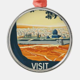 Ornement Rond Argenté Voyage vintage Palestine
