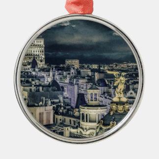 Ornement Rond Argenté Vue aérienne de scène de nuit de paysage urbain de