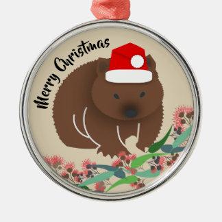Ornement Rond Argenté Wombat de bébé de Noël