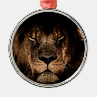 Ornement Rond Argenté yeux africains de fin de crinière de lion