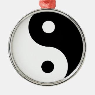 Ornement Rond Argenté yin-Yang