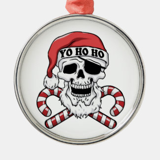 Ornement Rond Argenté Yo ho ho - pirate père Noël - le père noël drôle