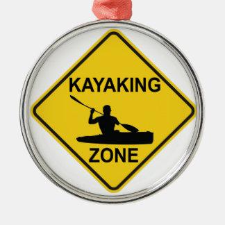 Ornement Rond Argenté Zone Kayaking