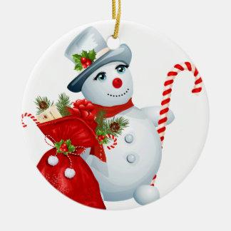 Ornement rond de bonhomme de neige de Noël