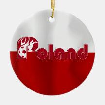 Ornement rond de drapeau polonais du football