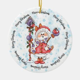 Ornement rond de Noël de joie de bonhomme de neige