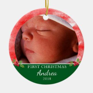 Ornement rond de premier Noël du bébé