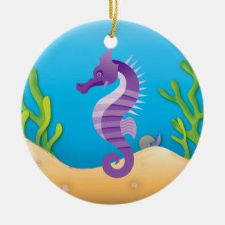 Ornement rond d'hippocampe pourpre sous-marin