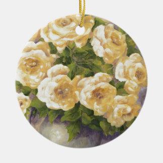 Ornement Rond En Céramique 0548 roses jaunes dans le broc